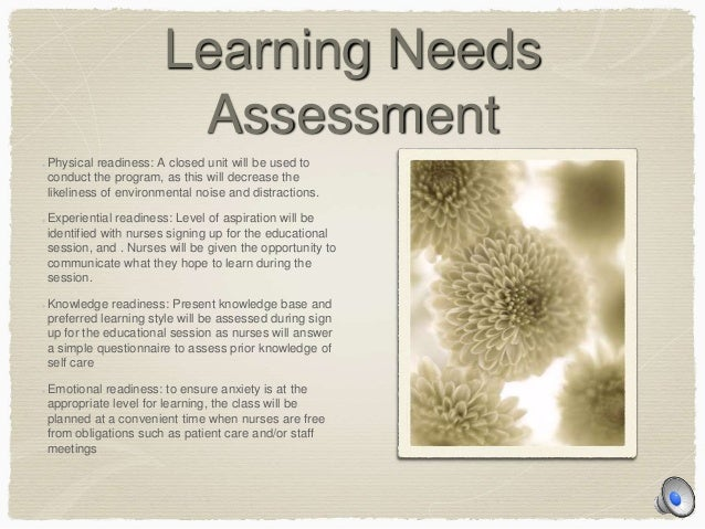 learning needs survey childcare example
