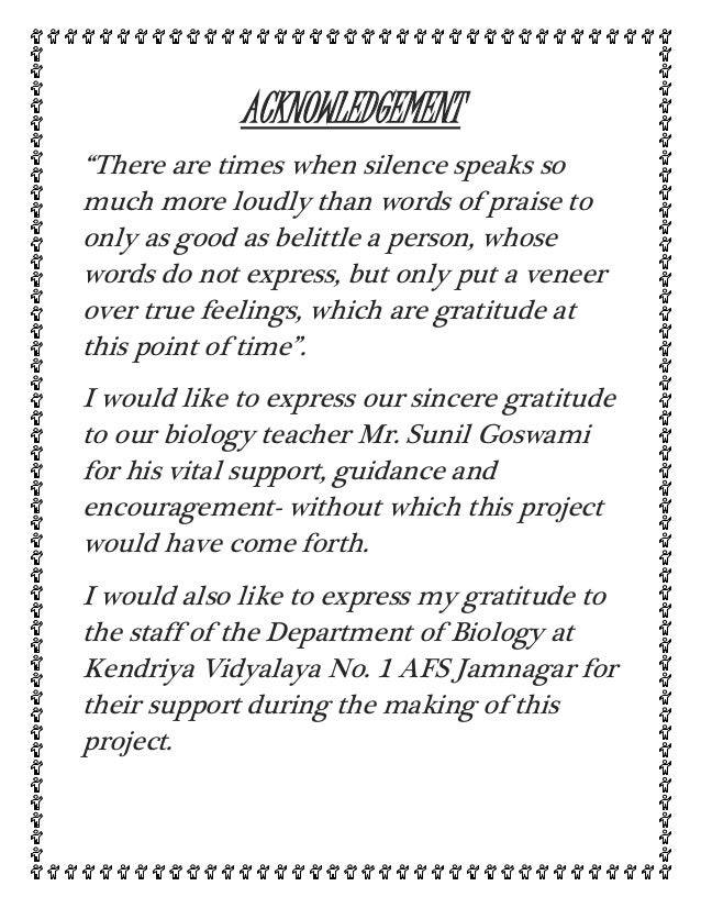 example of acknowledgement for project