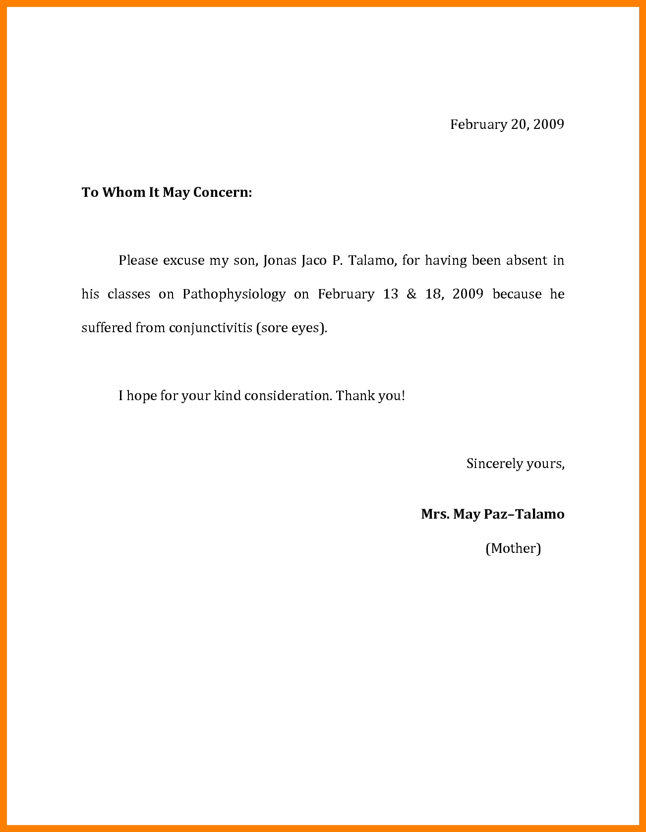 example of letter of excuse for school