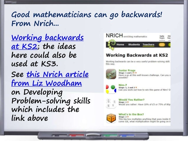 example of working backwards problem solving