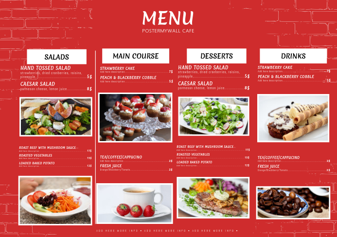 example of english menu in chinese