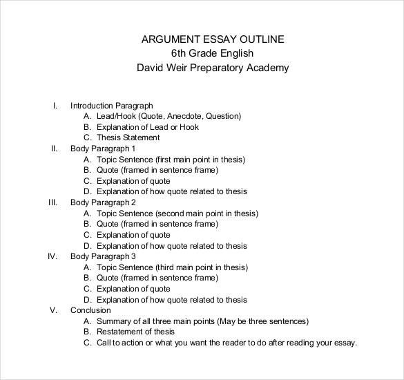 outline of the essay example