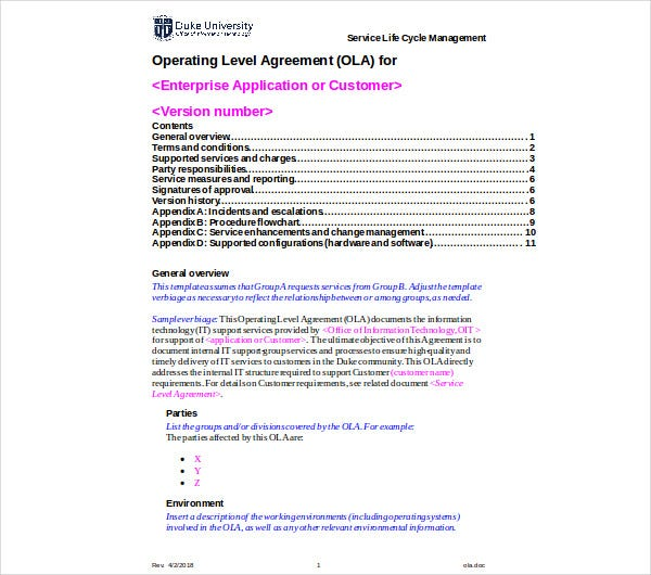 itil operational level agreement example