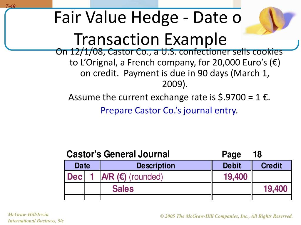 fair value hedge accounting example journal entries