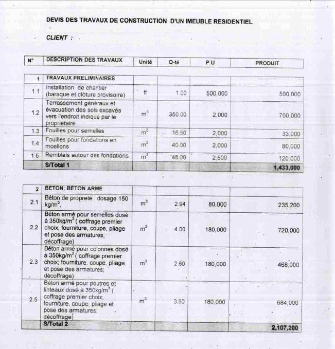 example preliminary bill of quantities