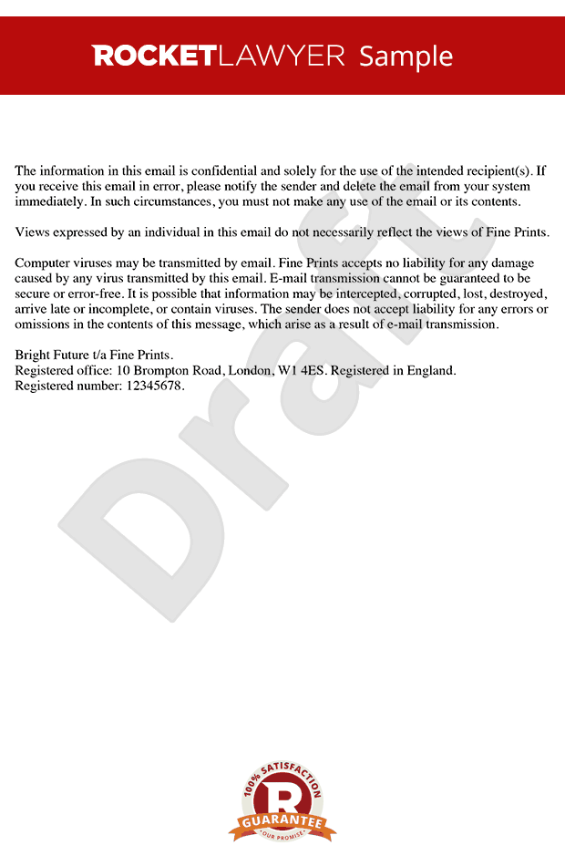 confidentiality statement or disclaimer example