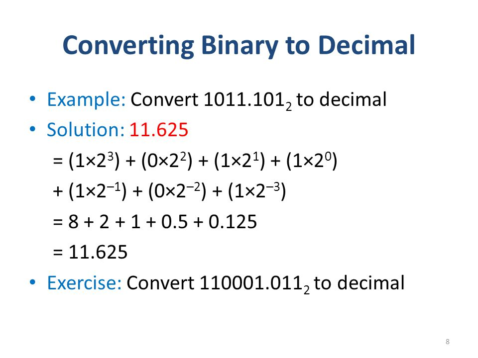example of converting binary to decimal