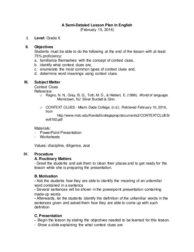 example of detailed lesson plan in english