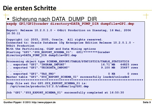 oracle data pump export example